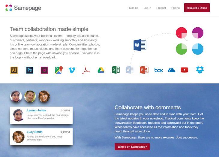Samepage, para crear páginas personalizadas para cada proyecto