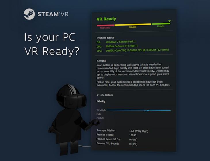 Una herramienta para comprobar si tu PC está listo para la realidad virtual