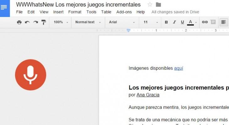 Voz en Google Docs