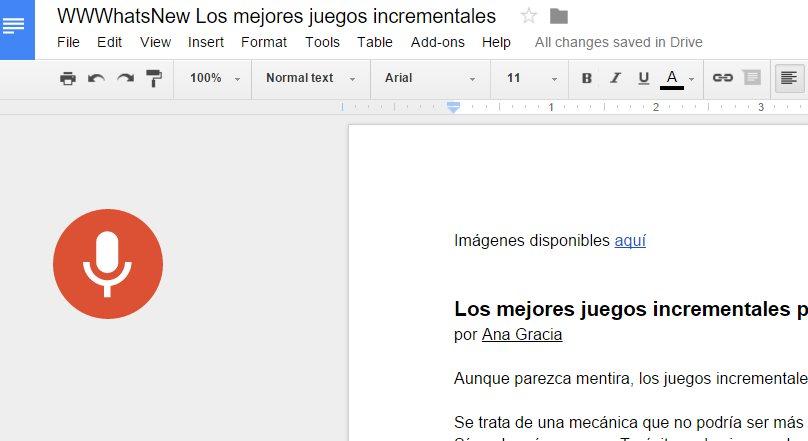Google Docs ya nos permite escribir, editar y dar formato usando la voz