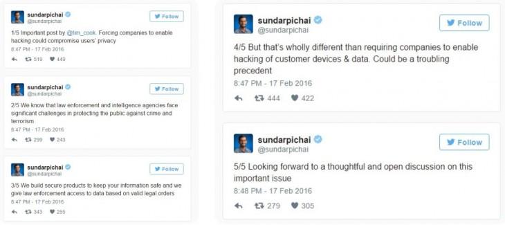Tweets del CEO de google sobre el asunto