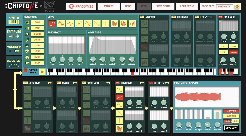 chiptone, aplicación para crear sonidos para videojuegos