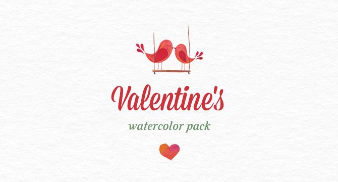 Pack De Acuarelas Para Dia De San Valentin