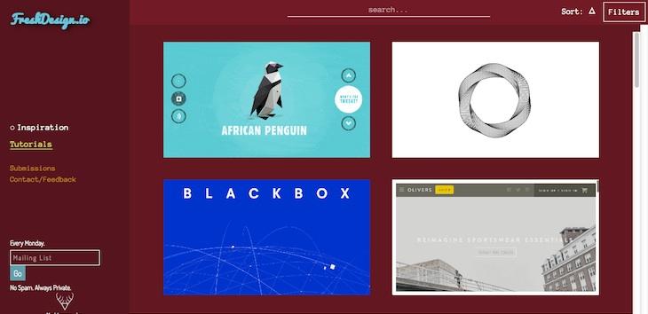 FreshDesign, recopilación de webs visualmente atractivas y recursos para diseñadores