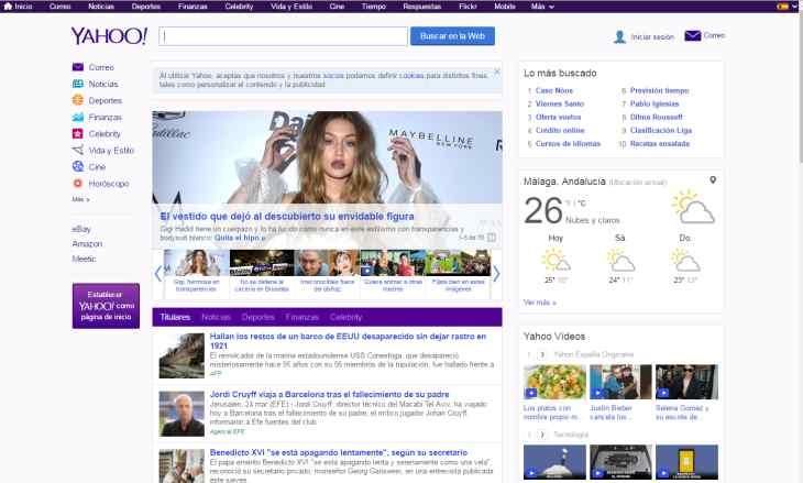 Imagen: Portada de Yahoo España