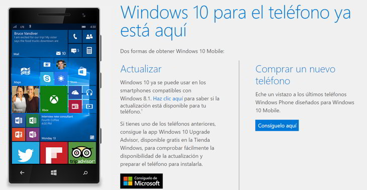 actualizar windows 10 mobile