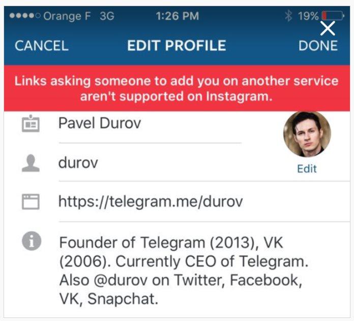Ejemplo de perfil bloqueando Telegram