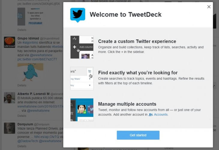 Versión web de TweetDeck