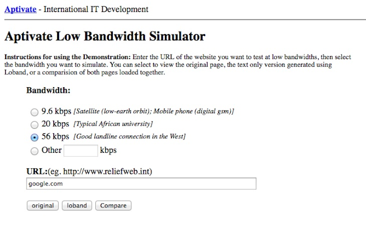 Una web que nos permite navegar por Internet simulando velocidades de 56 kbps