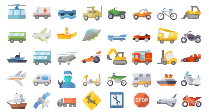 Iconos De Transporte En Estilo Flat