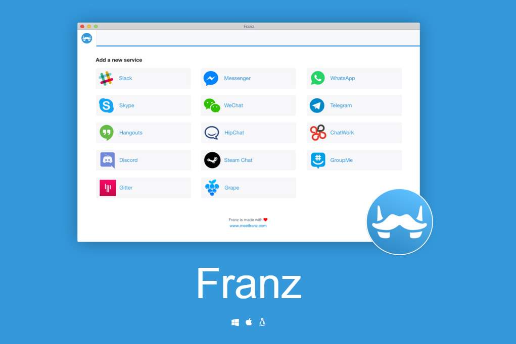 Franz ahora también para Windows y Linux, para tener en una misma app a Whatsapp, Telegram, Facebook Messenger…