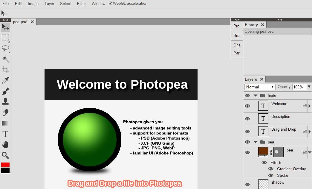 Photopea, para editar archivos PSD desde el navegador