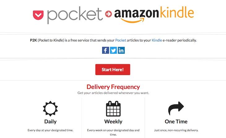 P2K, para enviar periódicamente el contenido guardado en Pocket a tu Kindle