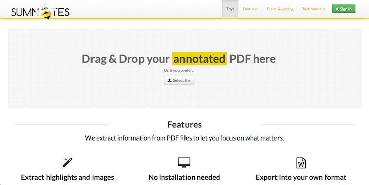 Sumnotes, para exportar el texto que hayamos subrayado en un PDF