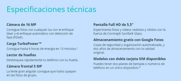 Especificaciones del G4 Plus