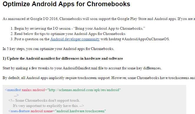Instrucciones para programar apps android compatibles con Chrome OS