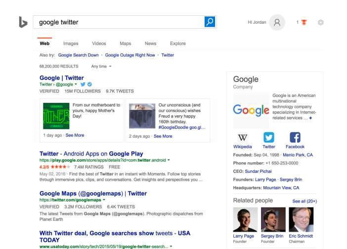 Tweets en Bing