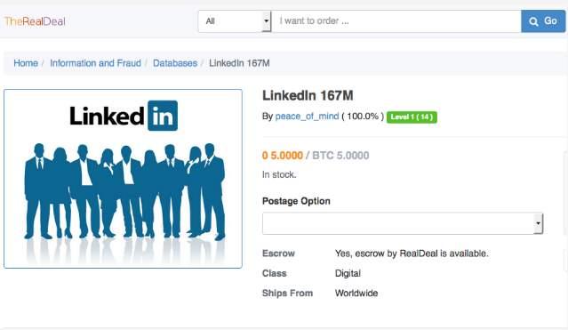 La lista de 117M de cuentas robadas de Linkedin