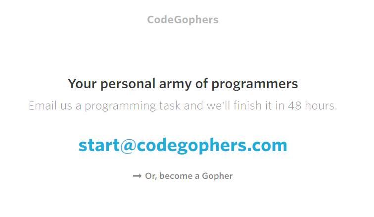 codegophers, para contratar programadores en proyectos sencillos