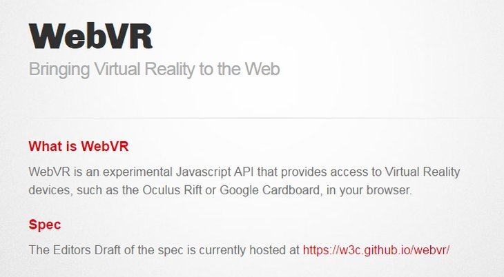 Imagen: Sitio web oficial de WebVR
