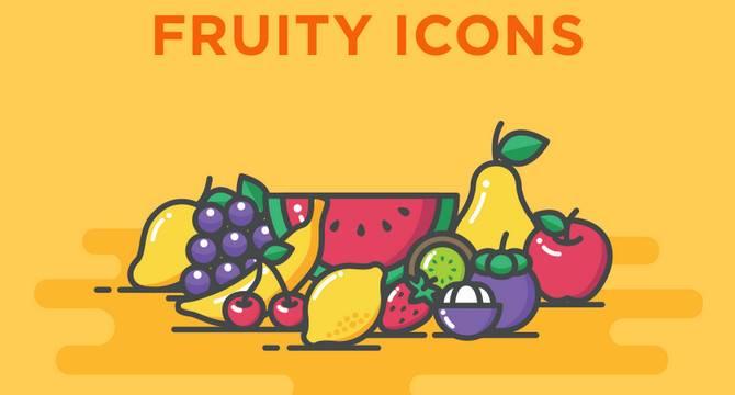 Lindo Set De iconos Frutales En Estilo Línea Y Blob