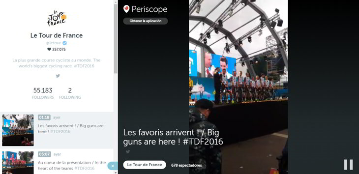 snapchat periscope tour de france