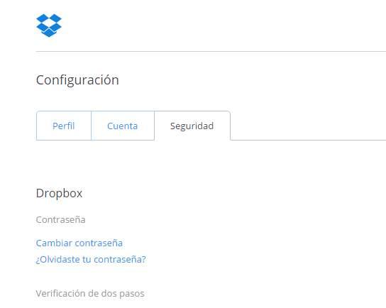 Sección de seguridad de Dropbox