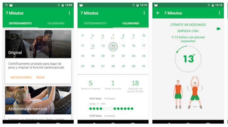Apps Android para la realización de ejercicios físicos diarios en 7 minutos