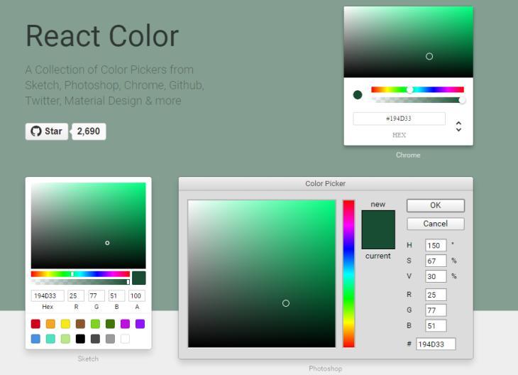 React Color, interesante colección de selectores de color