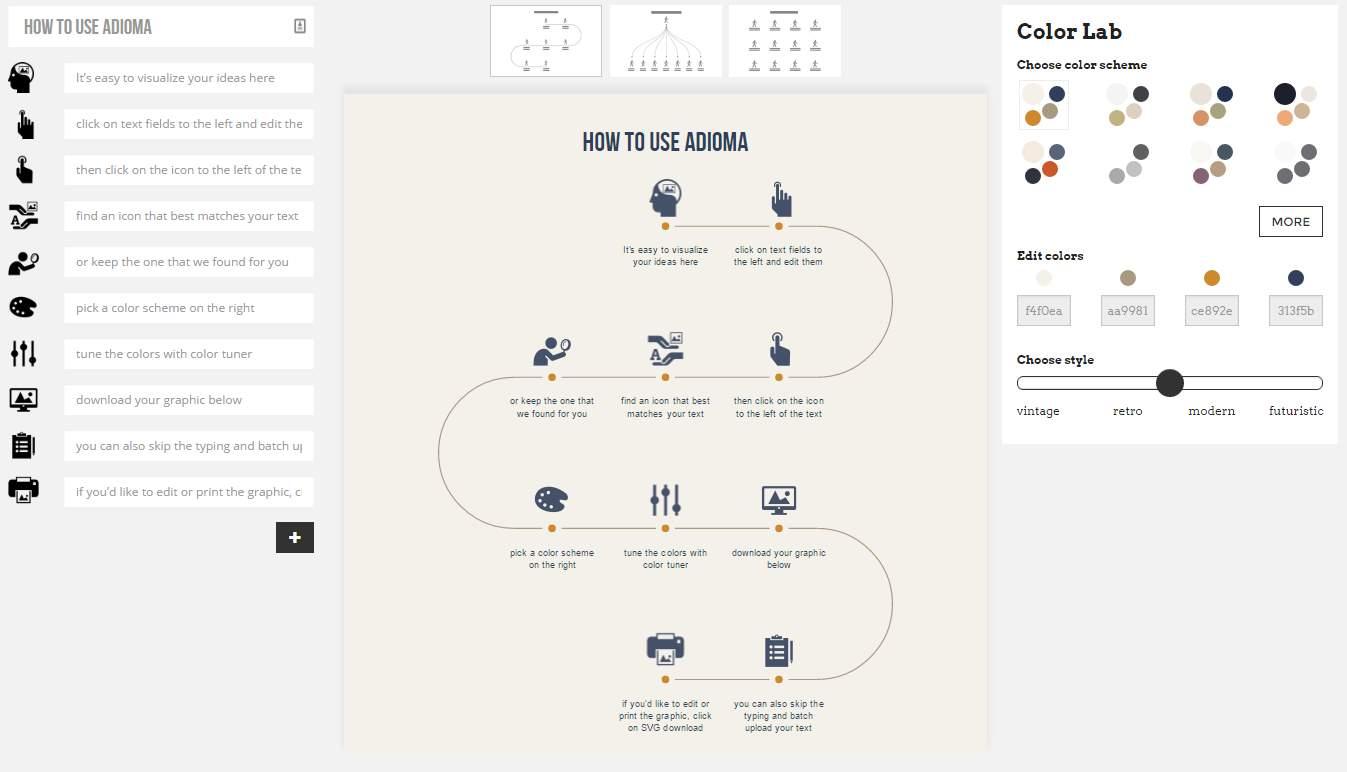 adioma, para crear infografías de forma sencilla