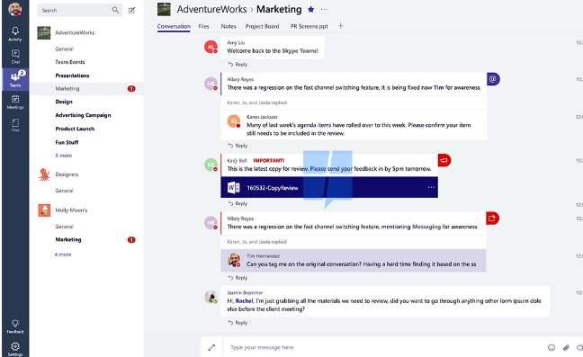 Posible aspecto de Skype Teams, la competencia de Slack