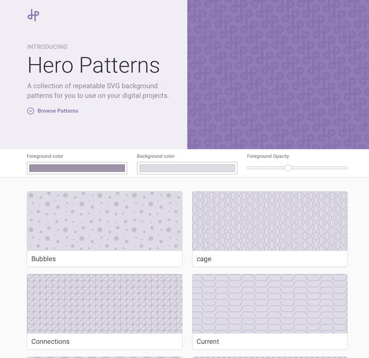 Hero Patterns, una completa colección de fondos con patrones en formato SVG
