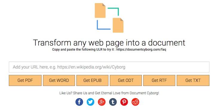 Herramienta para transformar cualquier página web en PDF, Word, TXT, EPUB, ODT o RTF