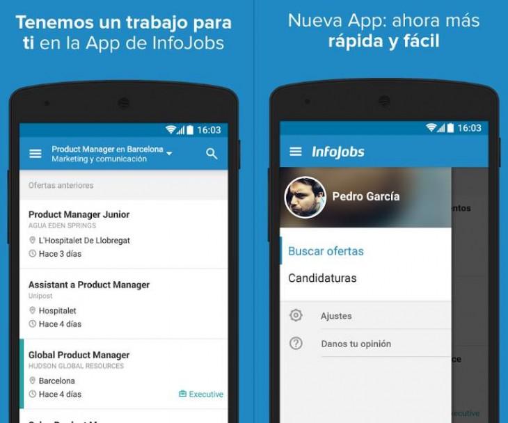 Resultados de búsquedas de empleo en app android de Infojobs