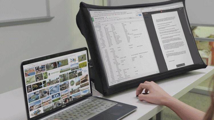 Una pantalla de 24 pulgadas que podrás llevar como si fuera un paraguas plegable