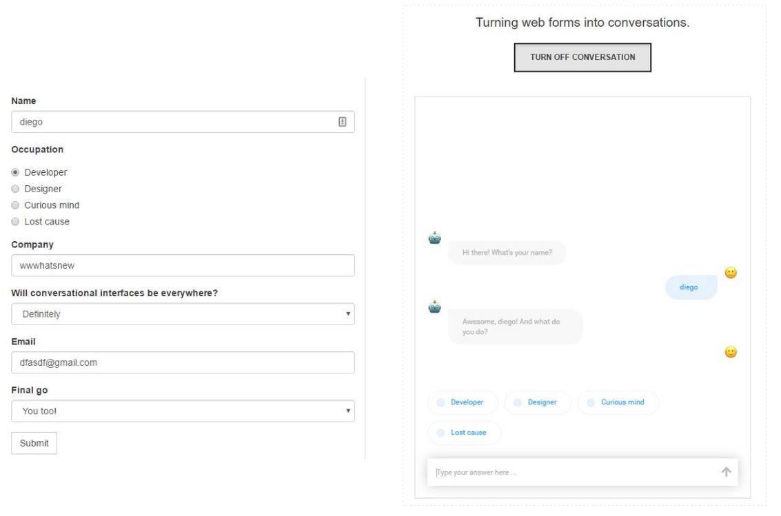 Transformando formularios en chats con robots