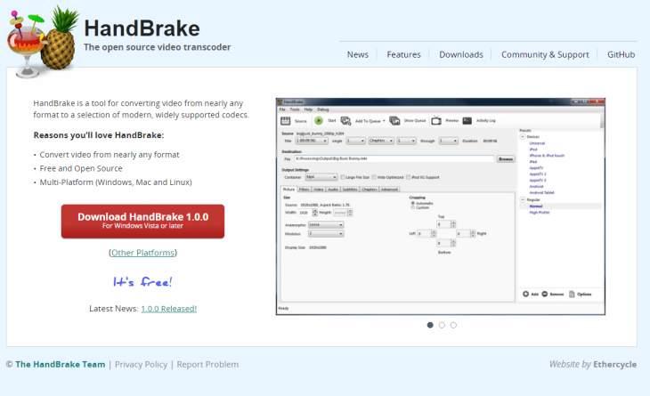 HandBrake, excelente conversor de vídeos de escritorio, llega a su primera versión estable
