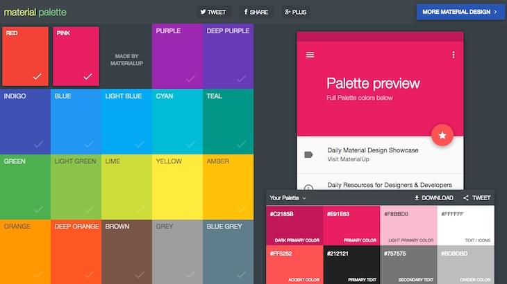 Herramienta para diseñar y exportar tu propia paleta de colores basada en Material Design