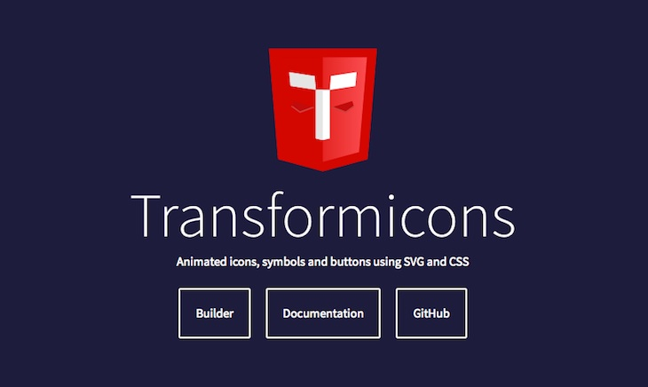 Transformicons, web que recopila iconos, símbolos y botones animados SVG y CSS