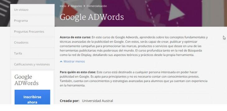 Curso online gratuito en español sobre Google ADWords