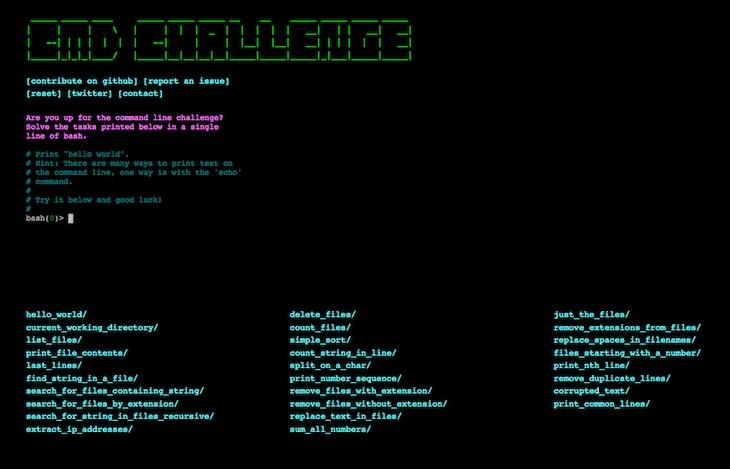 cmdchallenge, una web para probar nuestras habilidades con la linea de comandos
