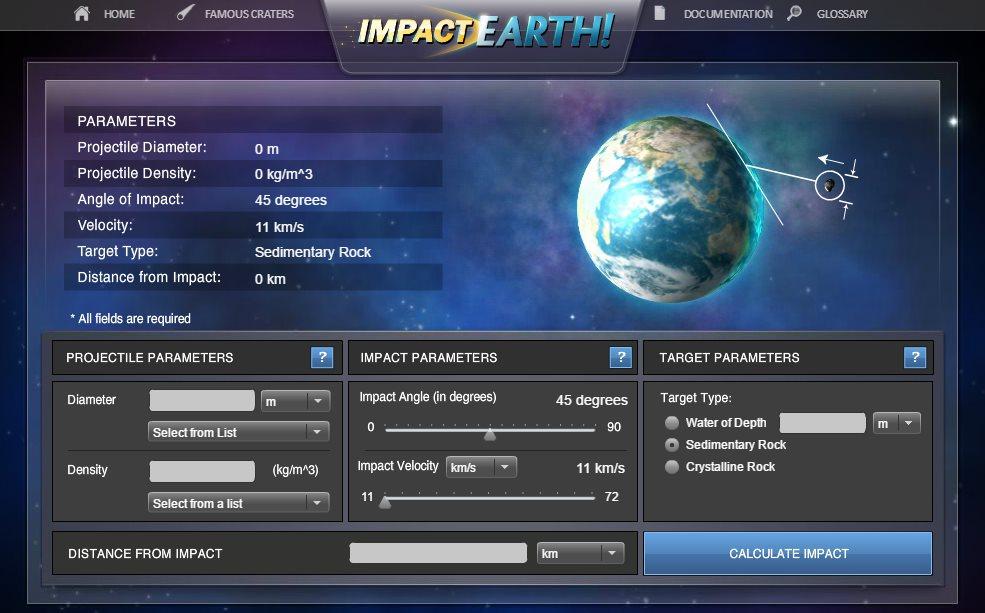 Un simulador de impacto de asteroide en el planeta Tierra