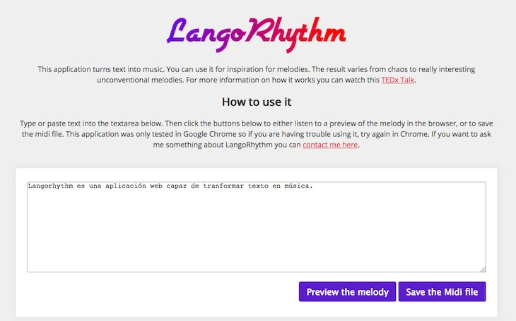 Una herramienta que convierte fragmentos de texto en melodías MIDI desde el navegador