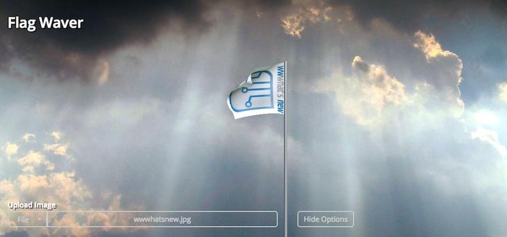 Una curiosa web para generar banderas ondeando con la textura que elijas