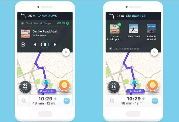 Waze y Spotify se integran, para que consultemos mapas con música desde el coche
