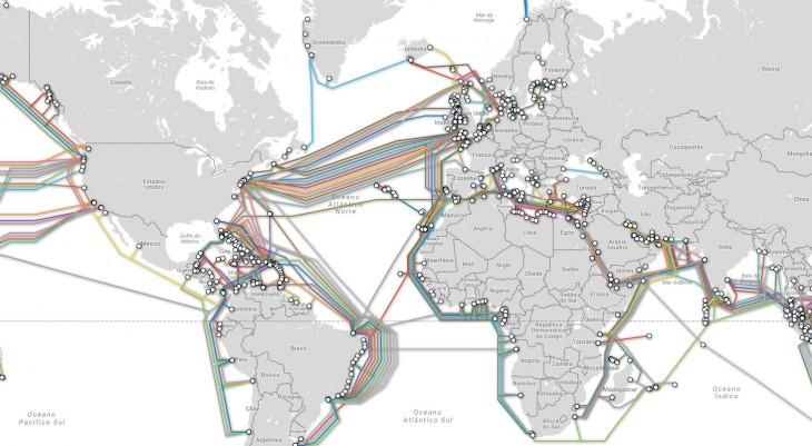 Mapa actual de cables submarinos en el mundo.