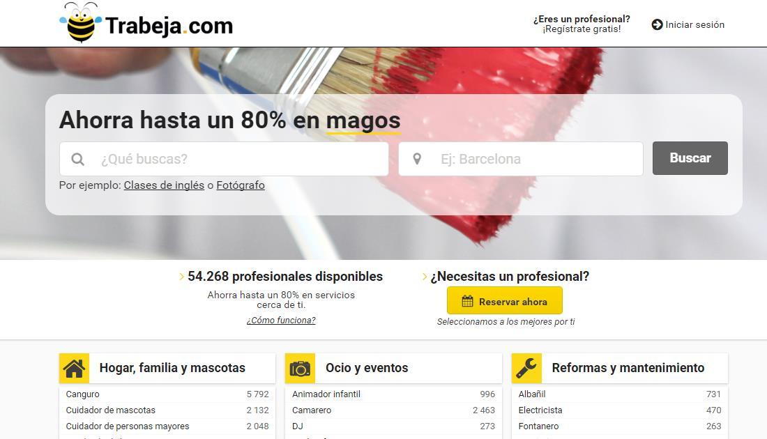 Trabeja, para trabajar y encontrar profesionales de todo tipo dentro de España