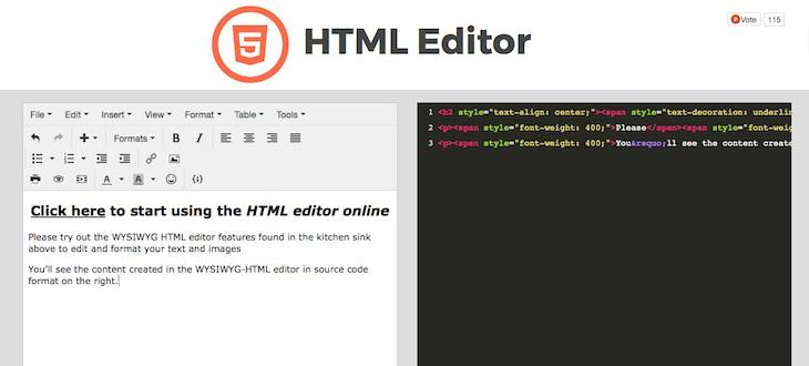 HTML Editor, una web para crear contenido en HTML con un editor visual