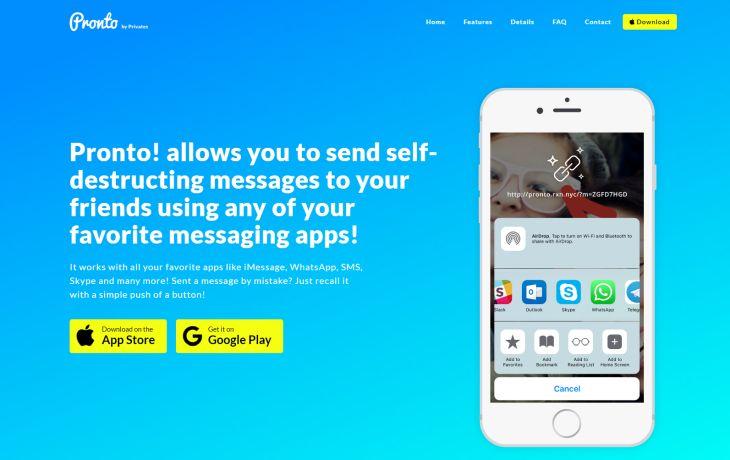 Pronto aspira a ser la aplicación de mensajería móvil más segura del mercado