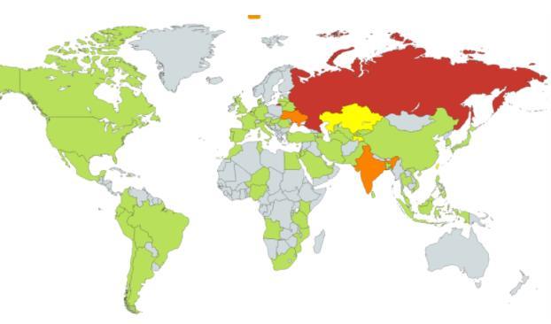 Países afectados por el ataque